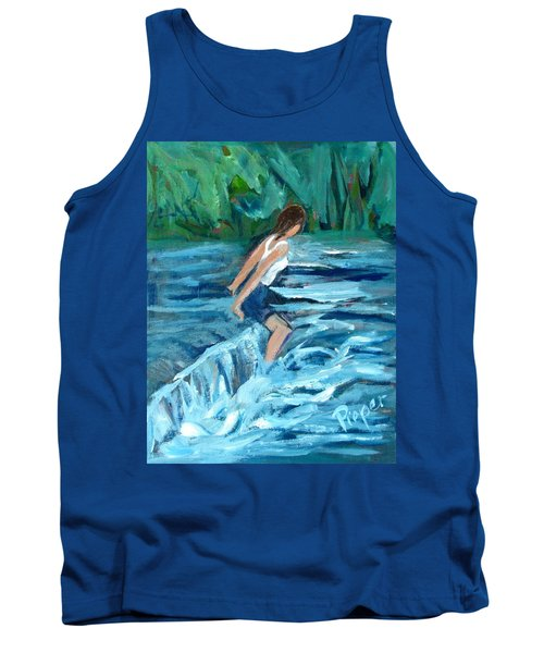 Tank Top featuring the painting Girl Bathing In River Rapids by Betty Pieper