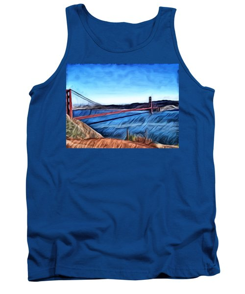 Windy Day At Golden Gate Bridge Tank Top