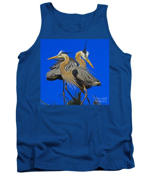 Great Blue Heron Family Tank Top by Larry Nieland