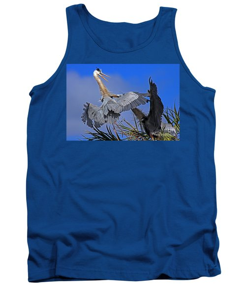 Great Blue Heron Fight  Tank Top