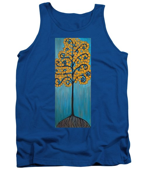 Happy Tree In Blue And Gold Tank Top