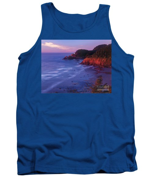 Tank Top featuring the photograph Heceta Head Lighthouse At Sunset Oregon Coast by Dave Welling