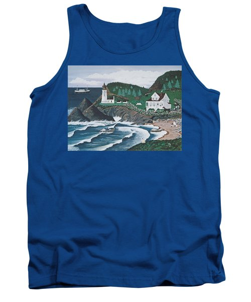 Tank Top featuring the painting Heceta Lighthouse by Jennifer Lake