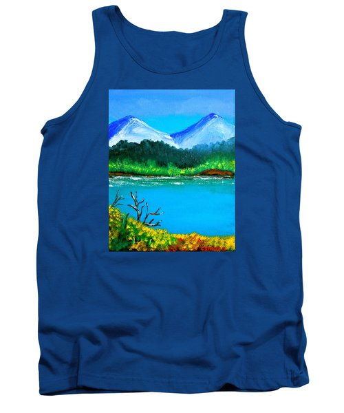Tank Top featuring the painting Hills By The Lake by Cyril Maza