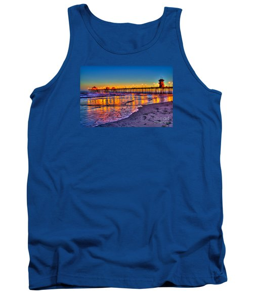 Huntington Beach Pier Sundown Tank Top by Jim Carrell