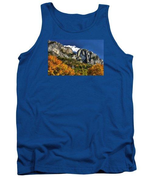 Imposing Seneca Rocks - Seneca Rocks National Recreation Area Wv Autumn Mid-afternoon Tank Top