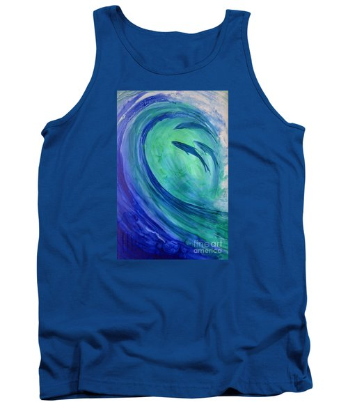 Tank Top featuring the painting Inside The Curl by Joan Hartenstein