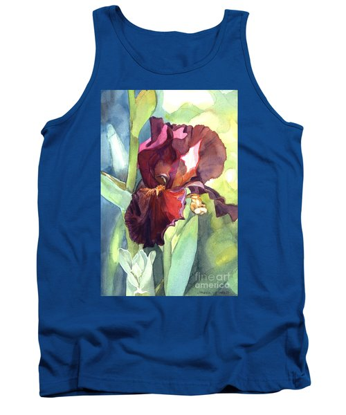 Watercolor Of A Tall Bearded Iris Called Sultan's Palace In Red And Burgundy Tank Top