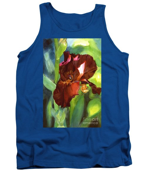 Watercolor Of A Tall Bearded Iris In Sienna Red Tank Top