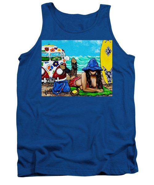 Tank Top featuring the painting J. C. Beaching It In 1961 by Jackie Carpenter