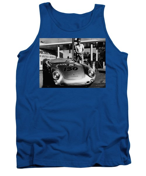 James Dean Filling His Spyder With Gas In Black And White Tank Top