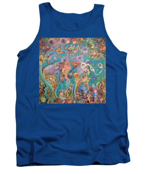 Tank Top featuring the painting Jungledelphia by Douglas Fromm