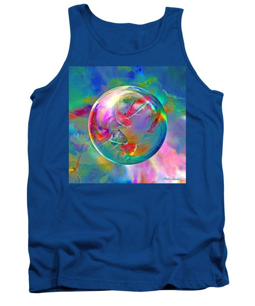 Tank Top featuring the digital art Koi Pond In The Round by Robin Moline
