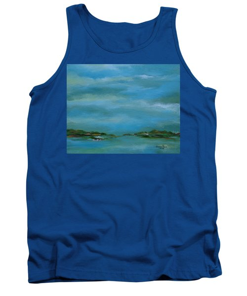 Tank Top featuring the painting Lake Wallenpaupack Early Morning by Judith Rhue