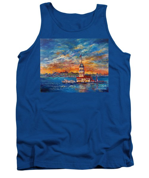 Tank Top featuring the painting Leanders Tower  Istanbul by Lou Ann Bagnall