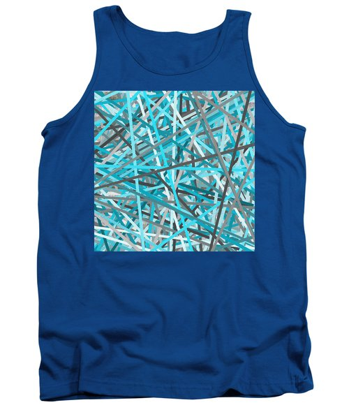 Link - Turquoise And Gray Abstract Tank Top