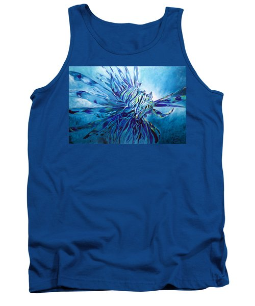 Lionfish Abstract Blue Tank Top