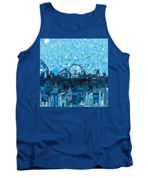 London Skyline Abstract Blue Tank Top