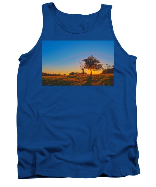 Tank Top featuring the photograph Lonely Tree On Farmland At Sunset by Alex Grichenko