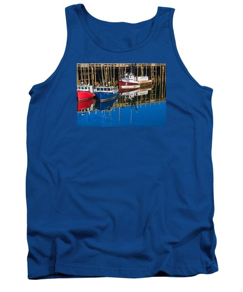 Boats And Reflections At Low Tide On Digby Bay Nova Scotia Tank Top