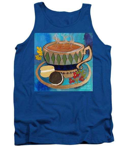 Tank Top featuring the painting Macaroons And Tea by Robin Maria Pedrero