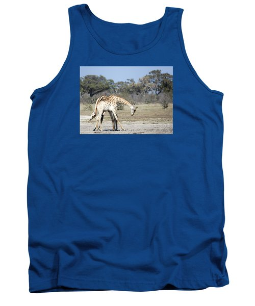 Tank Top featuring the photograph Male Giraffes Necking by Liz Leyden