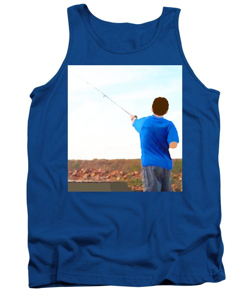 Tank Top featuring the painting Man Fishing by Marian Cates
