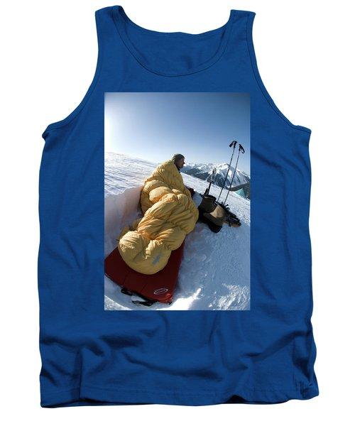 Man In Sleeping Bag On Summit Tank Top