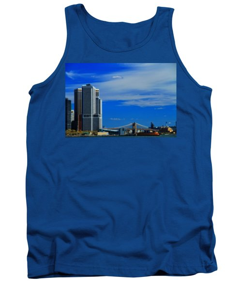 Manhattan Bridge And Nyc Skyline From The Harbor Tank Top