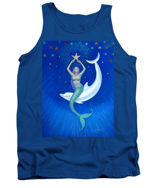 Mermaids- Dolphin Moon Mermaid Tank Top by Sue Halstenberg