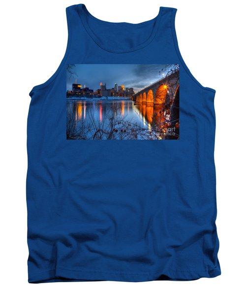Minneapolis Skyline Images Stone Arch Bridge Spring Evening Tank Top