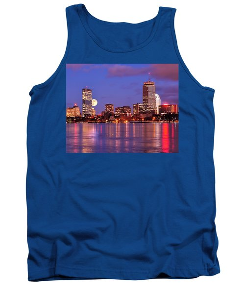 Moonlit Boston On The Charles Tank Top by Mitchell R Grosky