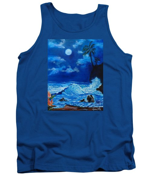 Moonlit Hawaiian Night Tank Top by Jenny Lee