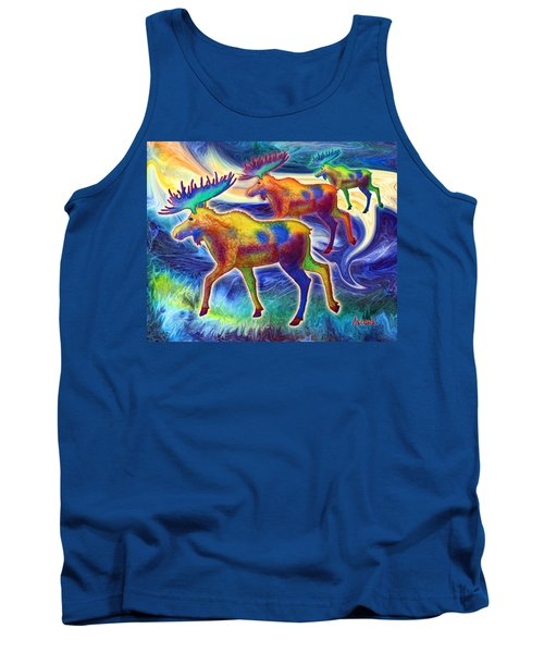 Tank Top featuring the mixed media Moose Mystique by Teresa Ascone