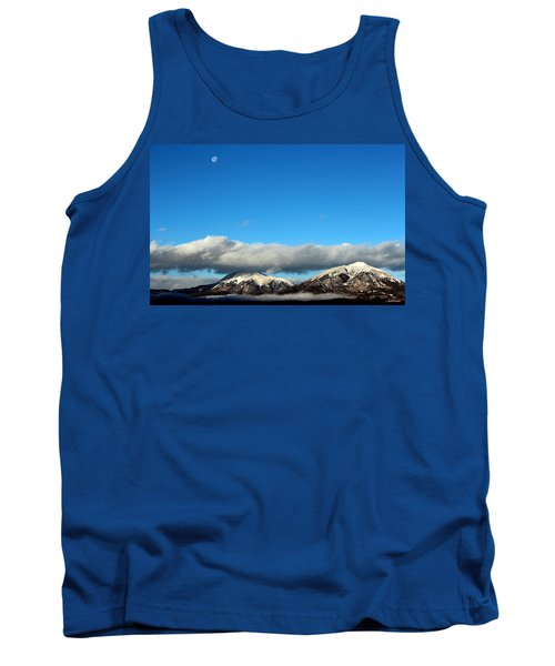 Tank Top featuring the photograph Morning Moon Over Spanish Peaks by Barbara Chichester