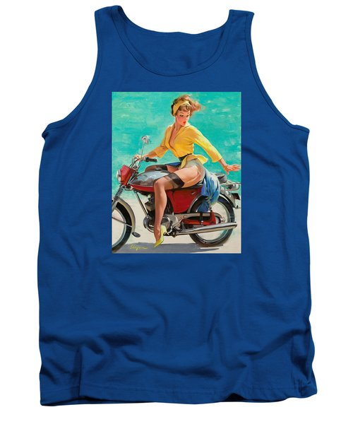 Motorcycle Pinup Girl Tank Top by Gil Elvgren