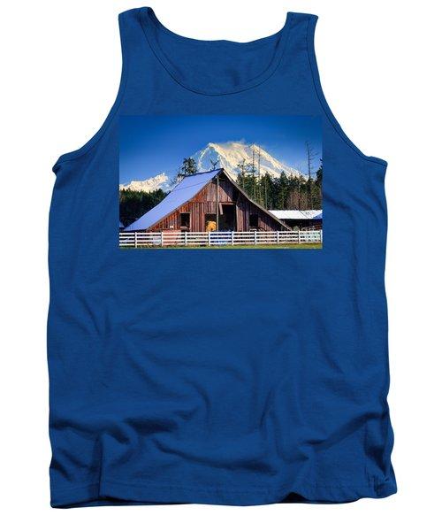 Mount Rainier And Barn Tank Top