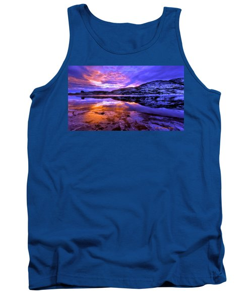 Tank Top featuring the painting Mountain Lake Sunset by Bruce Nutting
