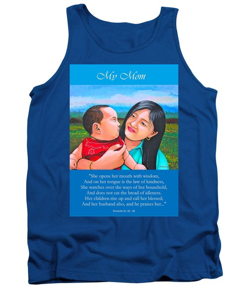 Tank Top featuring the mixed media My Mom by Cyril Maza