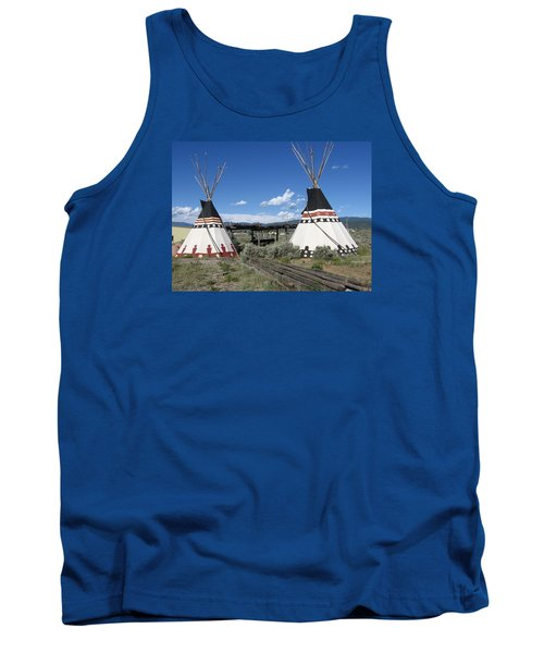 Tank Top featuring the photograph Native American Teepees by Dora Sofia Caputo Photographic Art and Design