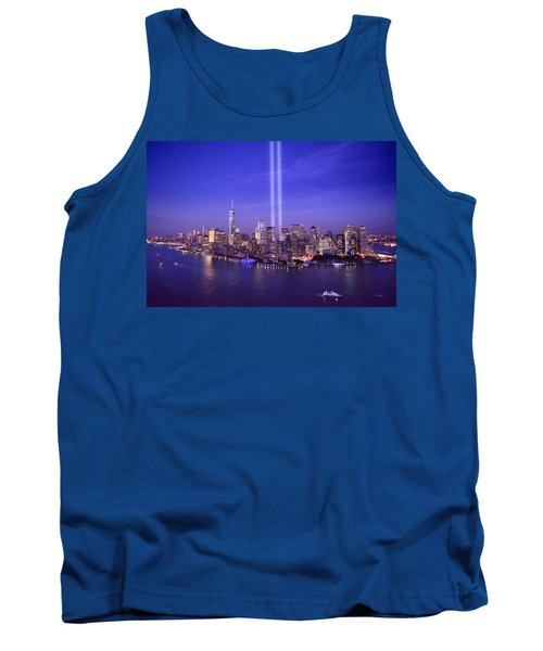 Tank Top featuring the photograph New York City Tribute In Lights World Trade Center Wtc Manhattan Nyc by Jon Holiday