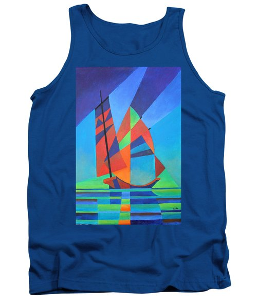 Tank Top featuring the painting Nightboat by Tracey Harrington-Simpson