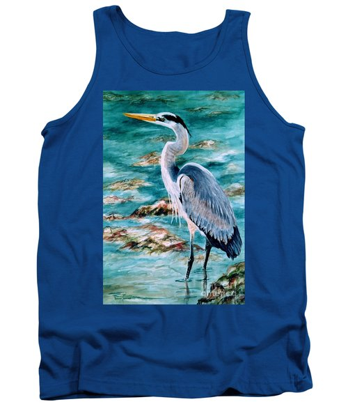 On The Rocks Great Blue Heron Tank Top
