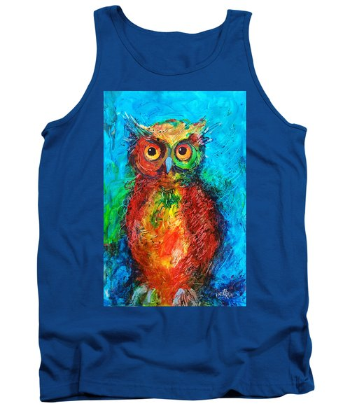 Tank Top featuring the painting Owl In The Night by Faruk Koksal