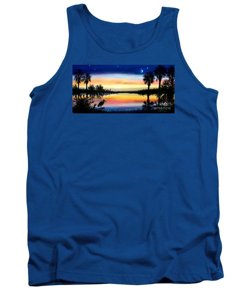 Palmetto Tree Moon And Stars Low Country Sunset IIi Tank Top by Patricia L Davidson