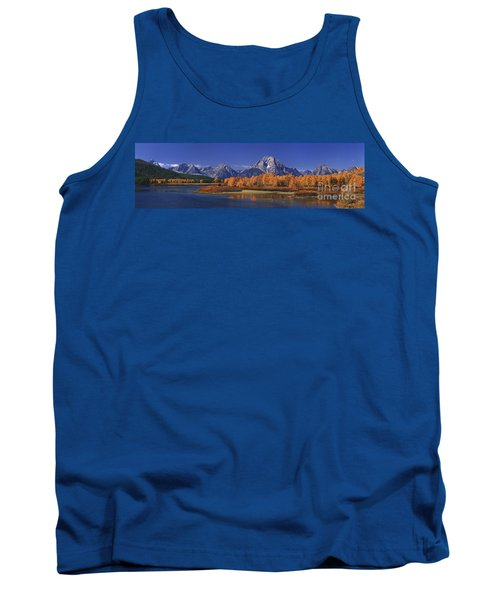 Tank Top featuring the photograph Panorama Fall Morning Oxbow Bend Grand Tetons National Park Wyoming by Dave Welling