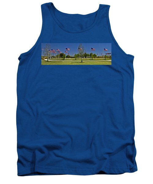 Tank Top featuring the photograph Panorama Of Flags - Veterans Memorial Park by Allen Sheffield
