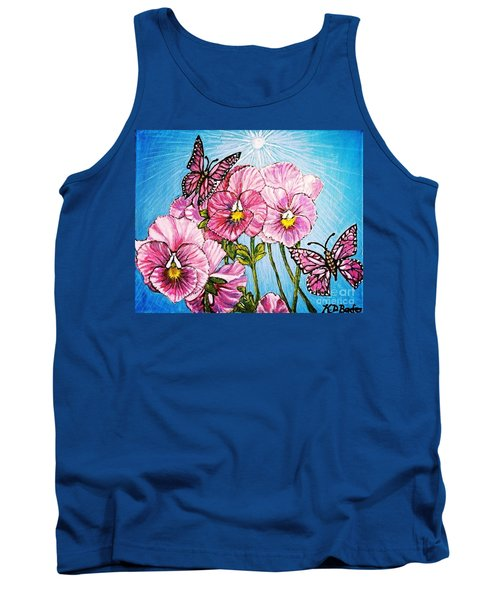 Pansy Pinwheels And The Magical Butterflies With Blue Skies Tank Top by Kimberlee Baxter