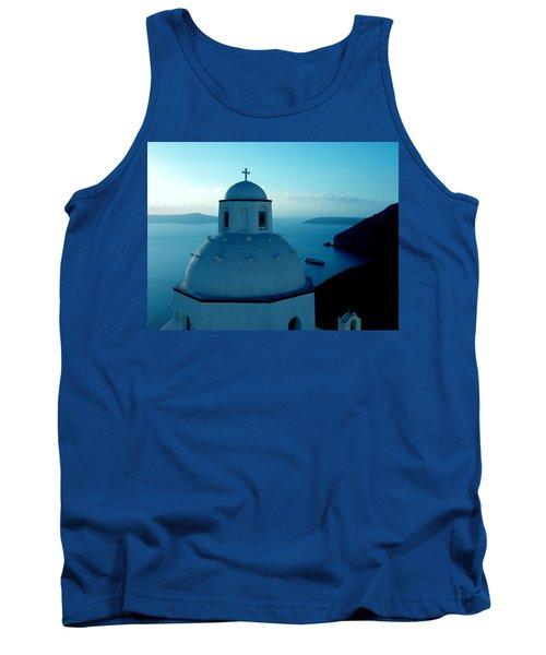 Peacefull Santorini Greek Island  Tank Top