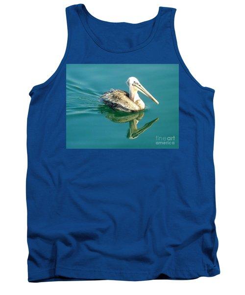 Pelican In San Francisco Bay Tank Top by Clare Bevan